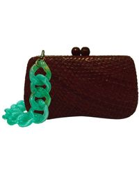 Serpui Bella Dark Brown Straw Clutch Bag
