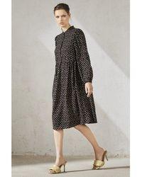 Luisa Cerano Metallic Silk Dot Midi Dress - Black
