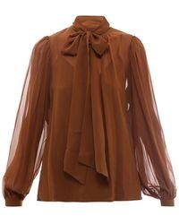 Tory Burch Silk Shirt - Brown