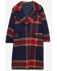 Ottod'Ame Navy & Red Tartan Coat - Blue