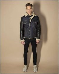 Schott Nyc Limited Edition Bimaterial West Rodeo Jacket Lmoneoone Denim&black