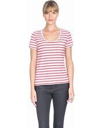 Lilla P Short Sleeve Pocket Tee - Raspberry Stripe - White