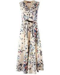 Max Mara Studio Maxmara Studio Sleeveless V-neck Floral Dress - Multicolor