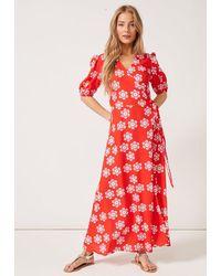PHOEBE GRACE Joyce V-neck Maxi Wrap Puff Sleeved Dress Red Daisy