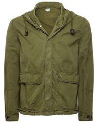Hartford Cotton Hooded Denver Jacket Colour: Green