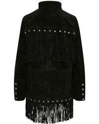 Gestuz Wica Leather Coat Detachable Fringe - Black