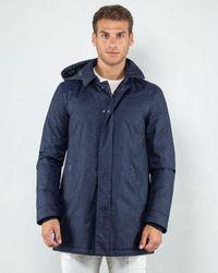 Herno Carcoat In Flanella Tecnica - Blue