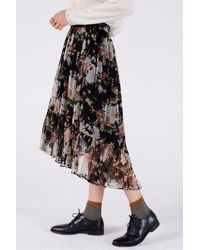 Swildens Claire Chiffon Print Skirt - Black