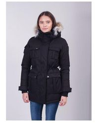 Nobis Cindy Fur Hooded Coat Colour: Black