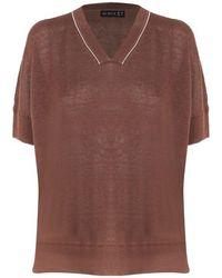 Sei Sette 57 Linen T-shirt - Brown