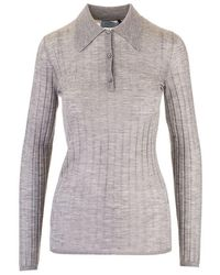 Prada Cashmere Polo Shirt - Gray
