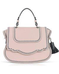 Thale Blanc Audrey Satchel: Pink Designer Handbag With Grey Stitching