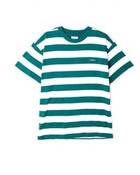 Obey Ideals Organic Wide Stripe T-shirt - Eucalyptus Multi - Blue