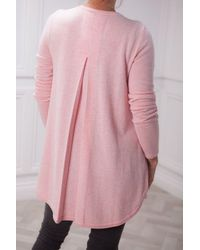 Kinross Cashmere Pleat Back Jumper - Pink