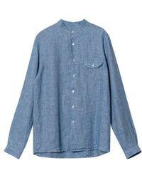 La Paz Vieira Linen Shirt Micro Squares - Blue