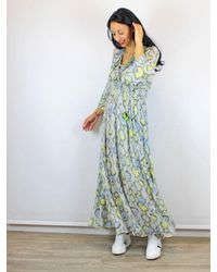 Conditions Apply Long Sleeve Maxi Dress Snake Print - Green
