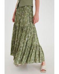 B.Young Byflaminia Long Gypsy Skirt Khaki - Green