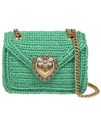 Dolce & Gabbana Devotion Shoulder Bag In Green Raffia