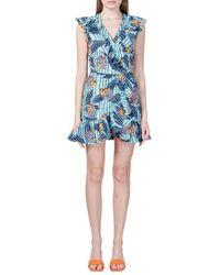 Stella Jean Ruffled Wrap-over Mini-dress - Blue