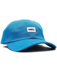 Obey Bold Label Organic 6 Panel Cap - Sapphire - Blue