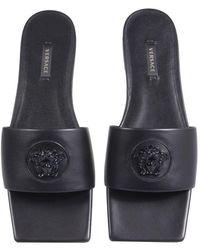 Versace Slide Sandals With Medusa - Black