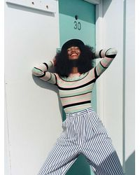 JoosTricot The Long Sleeve Crew In Mint Stripe - Multicolour