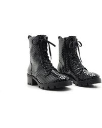 Schutz Black Snake Lace-up Ankle Boots
