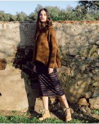 Beaumont Organic Pam-sue Organic Cotton Skirt In Navy & Chocolate - Brown
