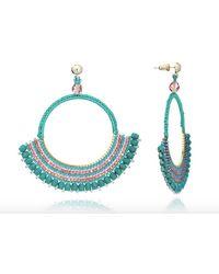 Azuni London Flamenco Crochet Delica Bead And Crystal Hoops - Blue