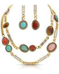 Thale Blanc Byzantine Long Necklace And Earring Set - Metallic