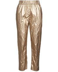 Nude Eco-leather Trousers - Metallic