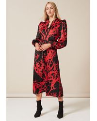 PHOEBE GRACE Trudy Midaxi Dress With High Neck And Button Down Detail In Red Tree - Black
