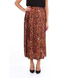 Altea Long Patterned Camel Skirt - Multicolour