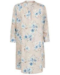 Lindsay Nicholas New York Silk Shirt Dress In Floral - Pink