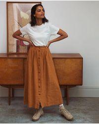 Beaumont Organic Ursa Linen Skirt In Almond - Brown