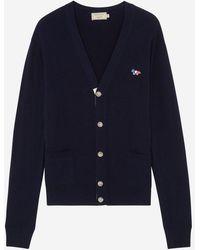 Maison Kitsuné Maison Kitsun㉠Virgin Wool V-neck Cardigan - Navy - Blue