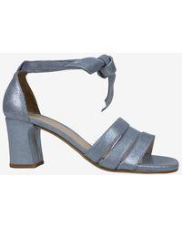 Unisa Malca Metallic Suede Three Bar Heeled Sandal Blue