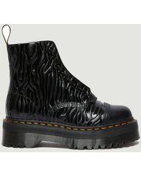 Dr. Martens Sinclair Zebra Patent Embossed Leather Platform Boots Black Dr. Martens