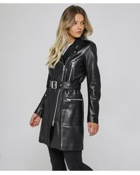 Belstaff Marving Longline Leather Jacket - Black