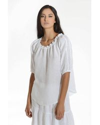 120% Lino Broderie Bardot Top - White