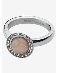 Dyrberg/Kern Valley Semi-precious Stone Diamante Ring Taupe - Metallic