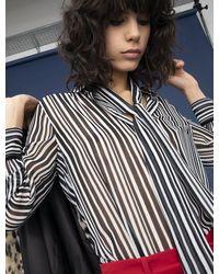 iBlues Santhia Tie Neck Top In Black / White Stripe