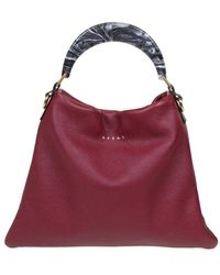 Marni Hobo Bag In Calfskin With Resin Handle - Multicolour
