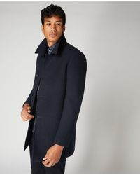Remus Uomo Tapered Fit Wool-mix Overcoat Navy | - Blue