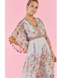 Rene' Derhy Sienne Dress In Ecru Floral Print - Pink