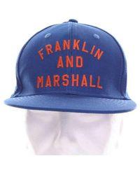 Franklin & Marshall Men's Cpua943ans19blue Blue Cotton Hat