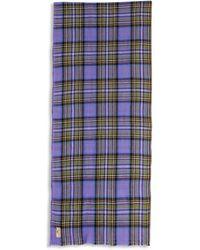 Burrows and Hare Burrows & Hare Cashmere & Merino Wool Scarf - Tartan Lilac - Purple