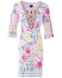 K-design Dress With Embellished Neckline - Multicolour