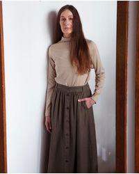 Beaumont Organic Ursa Linen Skirt In Crocodile - Black