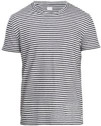 120% Lino - Striped T-shirt In Natural And Navy - Lyst